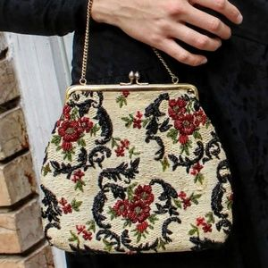 RARE Vintage 30s Heavily Beaded TAPESTRY Bag Purse
